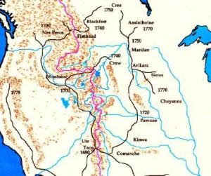 Migración de las tribus indias hacia el norte.